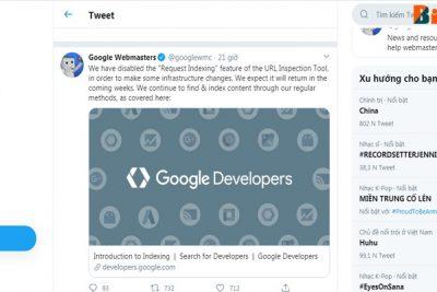 Google tạm thời tắt tính năng yêu cầu lập chỉ mục.