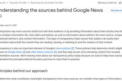 Google update chính sách minh bạch cho nhà xuất bản nội dung trên Google tin tức